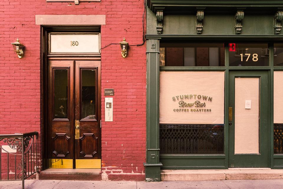 Buildings, City, Coffee Shop, Doors, Street, Urban