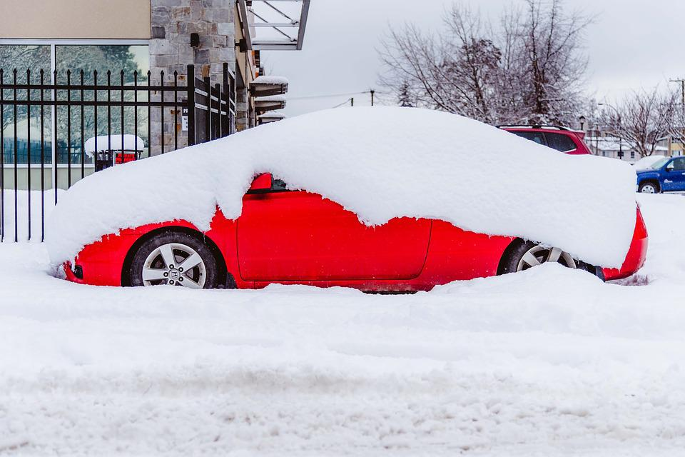 Snow, Street, Car, Covered, Deep, Winter, Cold, Heavy