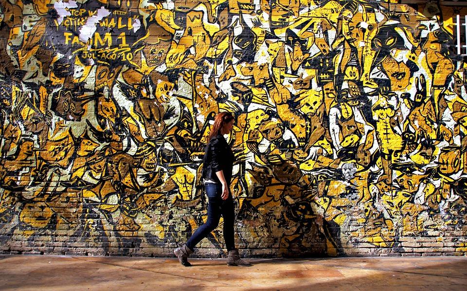 Yellow, Women, Girl, Street, Graffiti, Old, Wall, City