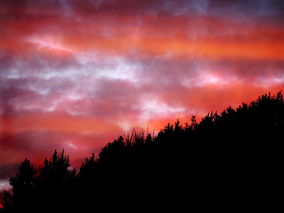 Strinesdale, Lancashire, Red, Sky, Sunset, Clouds, Dusk