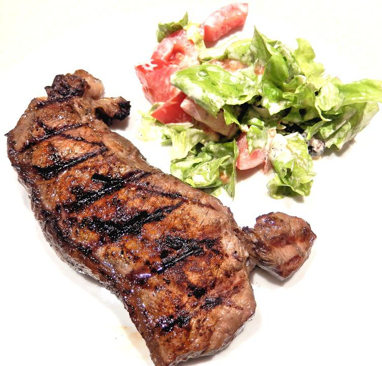 Strip Loin Steak, Bbq, Salad, Food