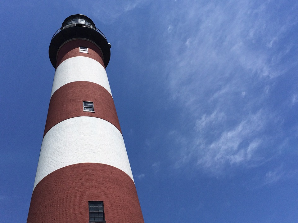 Lighthouse, Chincoteague, Assateague, White, Striped