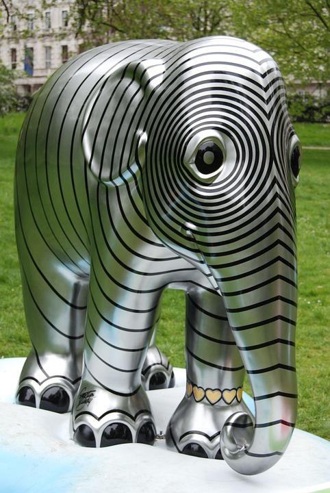 Elephant, Striped, Art, Pattern, Decoration, Design