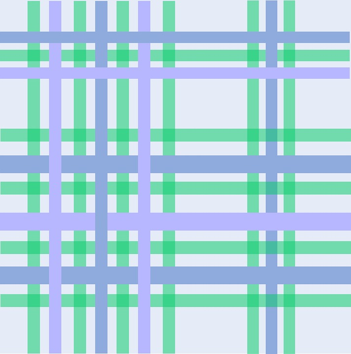 Gingham Pastel Blue Shades Shapes Green Stripes