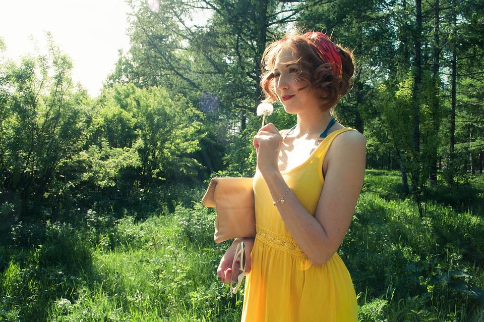 Girls, Summer, Sun, Stroll, Dandelion, Yellow, Dress