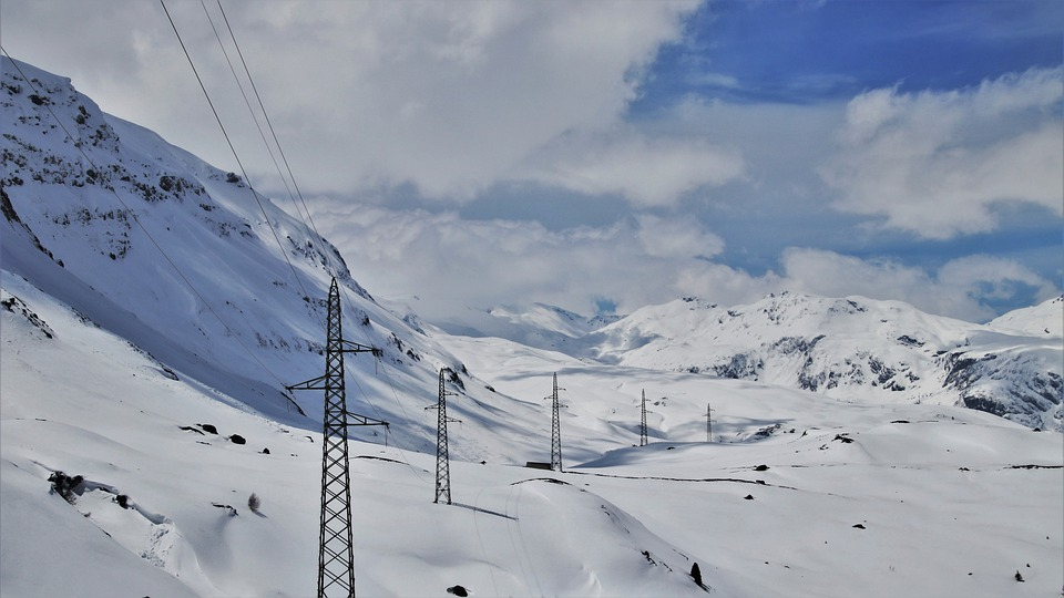 Insulators, Mountains, Snow, Peak, Strommast, The Alps