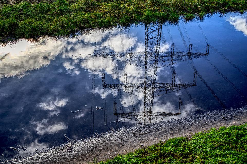 Puddle, Strommast, Mirroring, Reflection, Clouds, Sky
