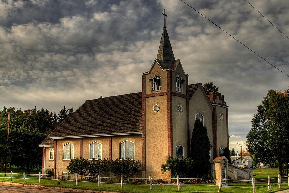 Alberta, Canada, Landscape, Church, Building, Structure