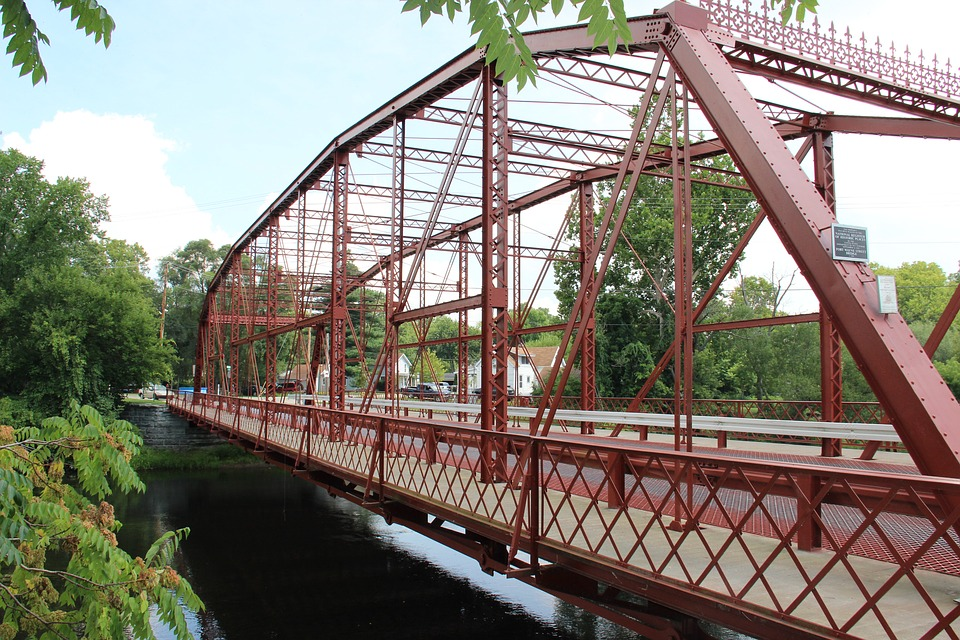 Bridge, Iron, Landmark, Town, Structure