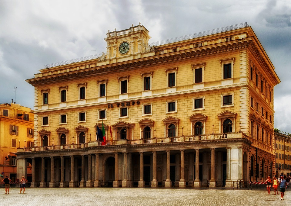 Rome, Italy, Plaza, Building, Structure, Sky, Clouds