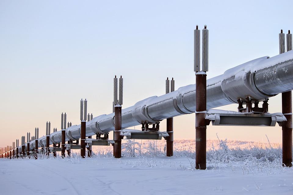 Winter, Alaska, Pipeline, Oil, Snow, Structure
