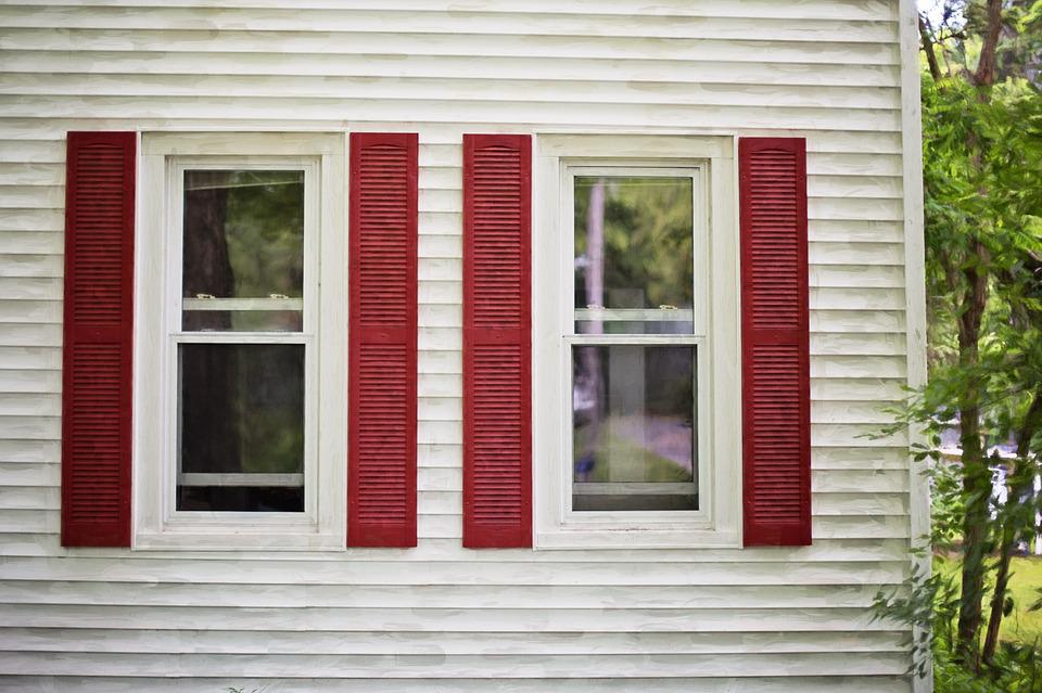 Red Shutters, White House, Wooden, Country, Structure