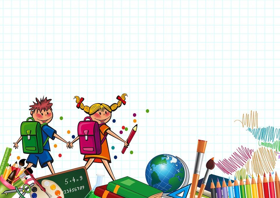 School, Students, Children, Board, Colored Pencils