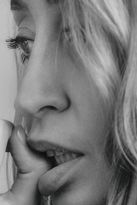 Girl, Studio, Female, Woman, Profile, Black And White
