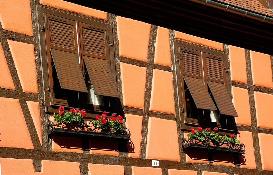 Alsace, Obernai, Studs, Facade, Windows