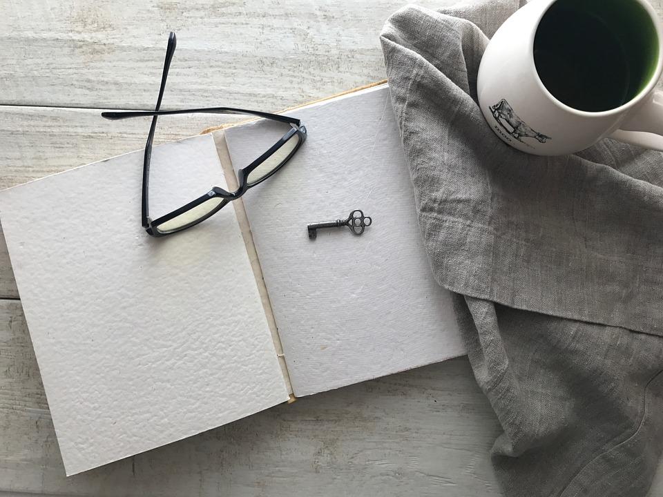 Coffee, Glasses, Open Book, Study, Desk, Key