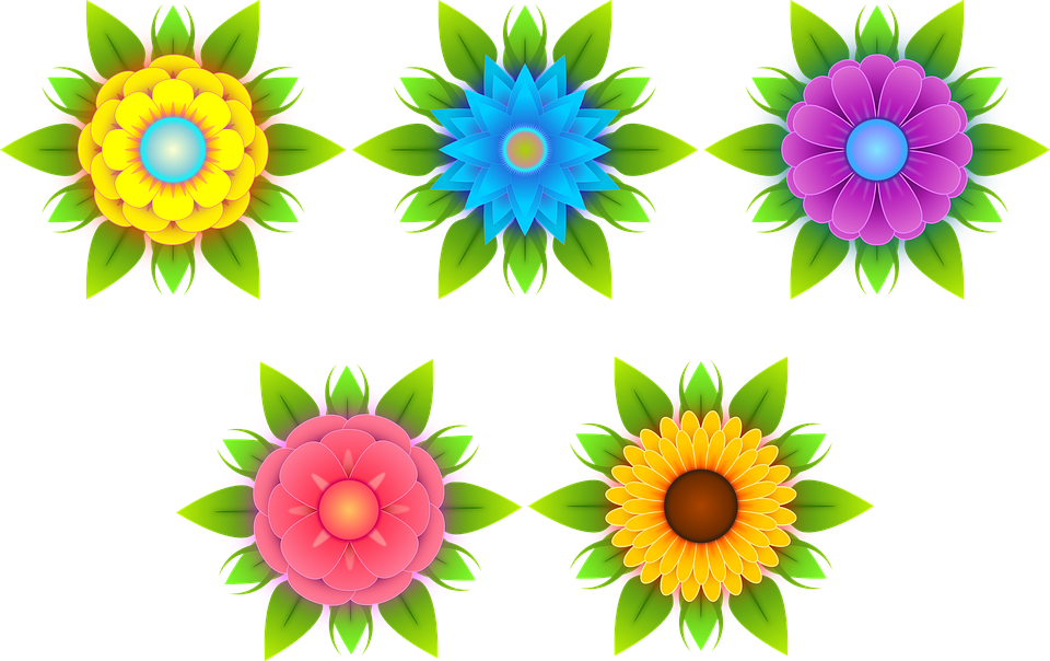 Flowers, Stylized Flowers, Nature, Flora, Yellow, Blue