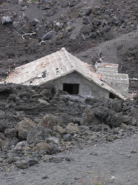 Mt Etna, Lava, Submerged House