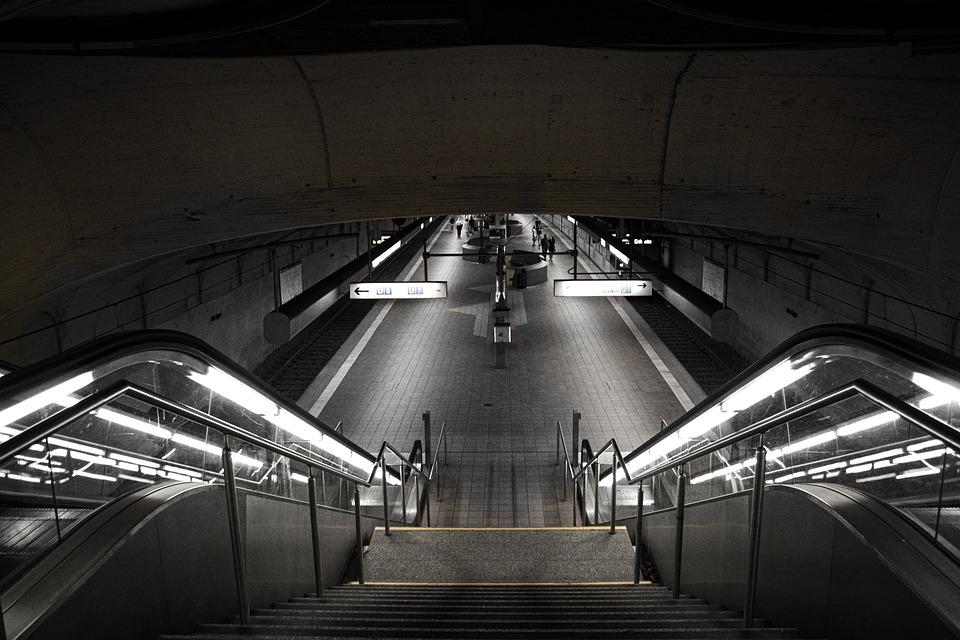 Train, Subway, Escalator, Building, Train Station