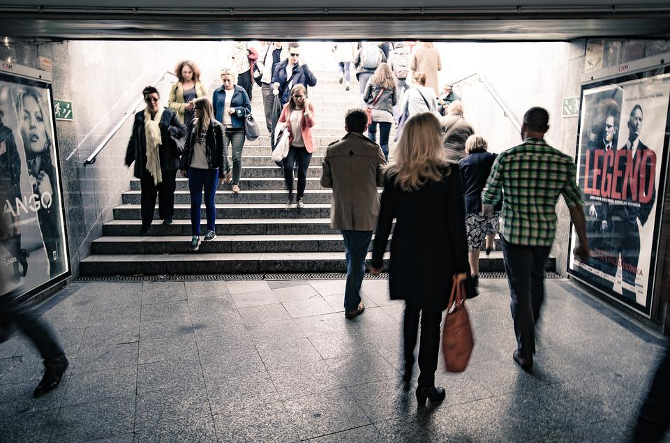 People, Man, Woman, City, Group, Walking, Subway
