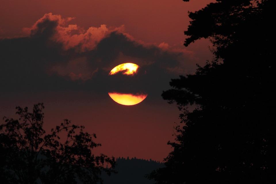 West, Sun, Sudetenland, Sunset, Dark, Clouds