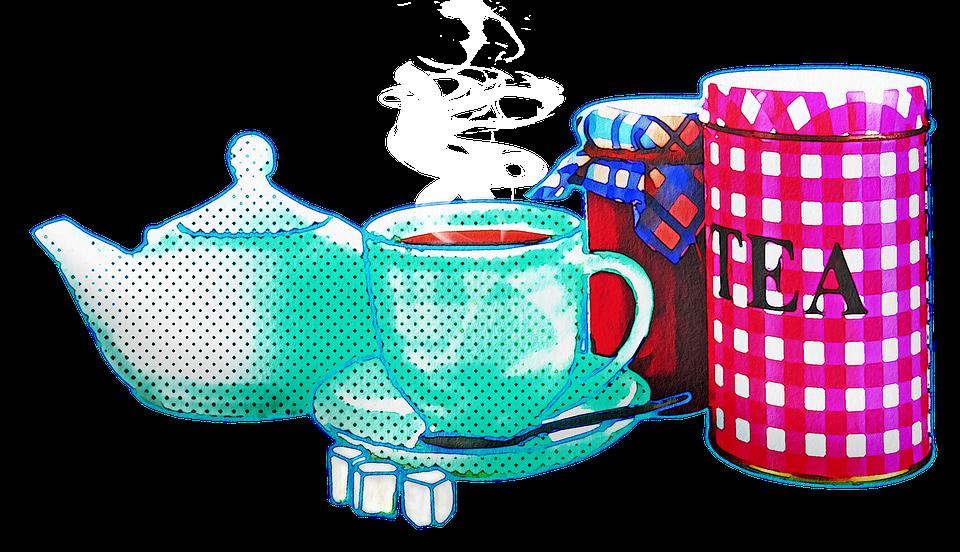 Watercolor Tea Set, Watercolor, Tea Pot, Teacup, Sugar