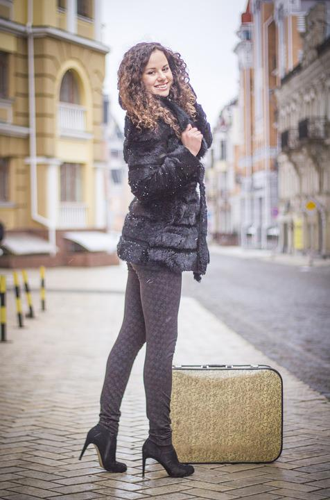 Suitcase, Girl, Woman, Travel, Bag, Female, Style