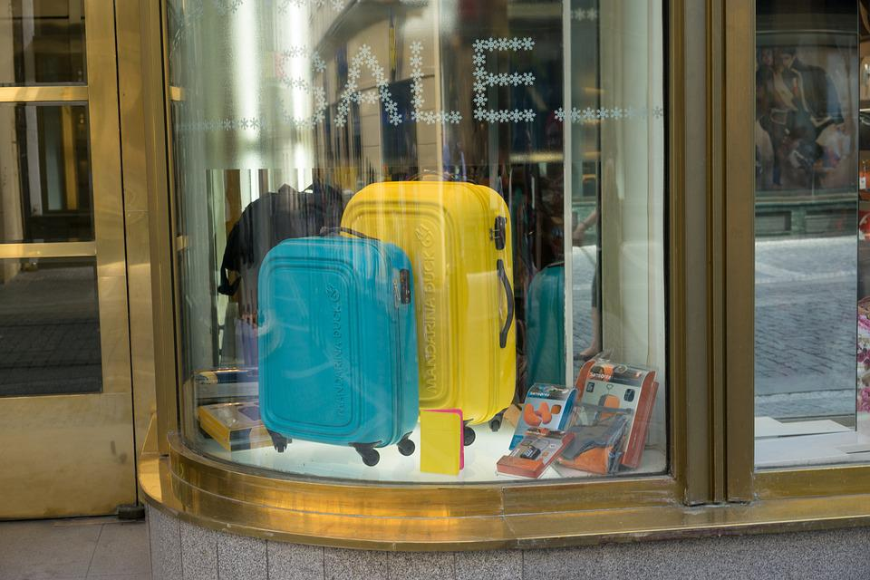 Suitcases, Window, Shopping, Urban, Sale, Travel, Bags