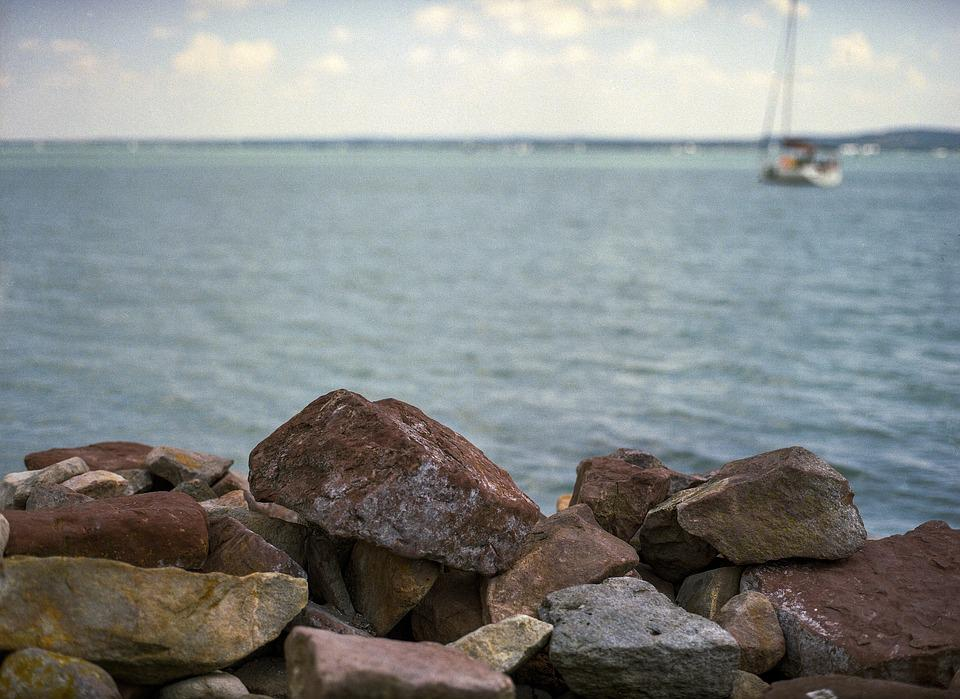 Lake, Balaton, Stones, Sailing, Hungary, Nature, Summer