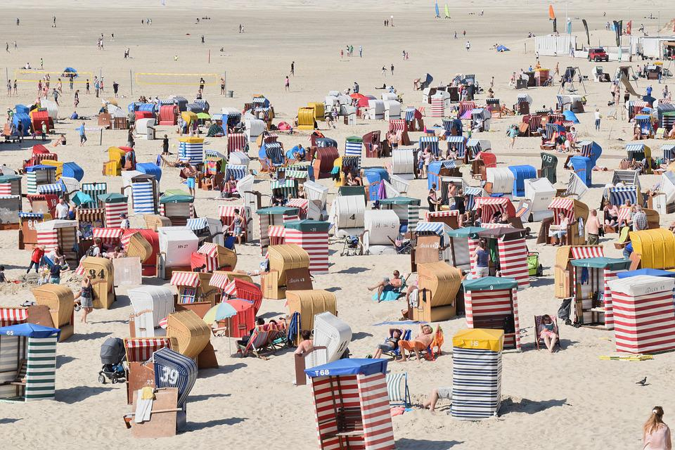 Beach, Crowded, Tourists, Summer, Borkum, Germany