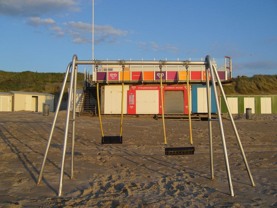 Swing, Sea, Beach, Harmony, Summer, Blue, Sky, Swell