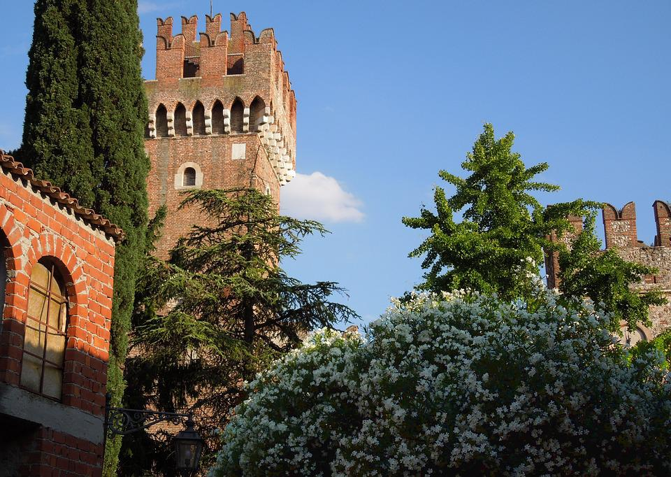 Italy, Castle, Rhododendron, Summer, Blue Sky