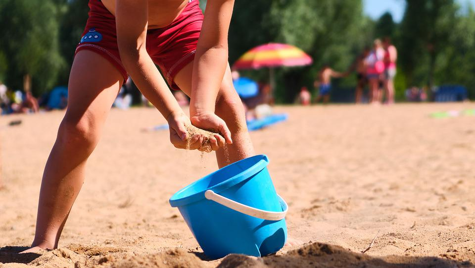 Toys, Sea, Boy, Blue, Beach, Vacations, Summer, Sand