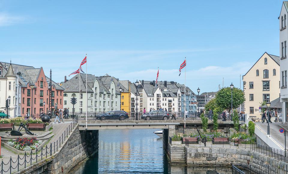 Alesund, Norway Flags, Bridge, Summer, Landscape