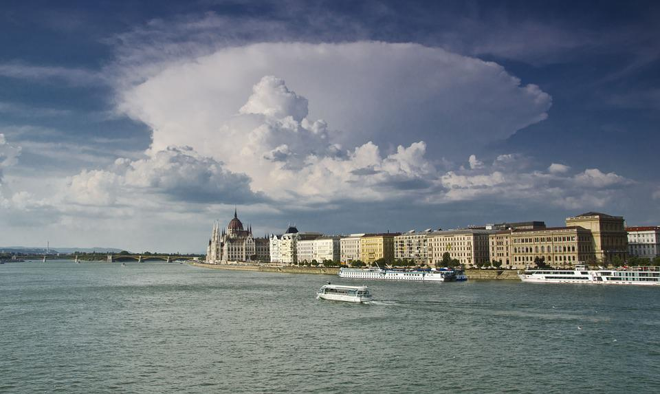 Budapest, Hungary, Summer, River, View Of The City, Sky
