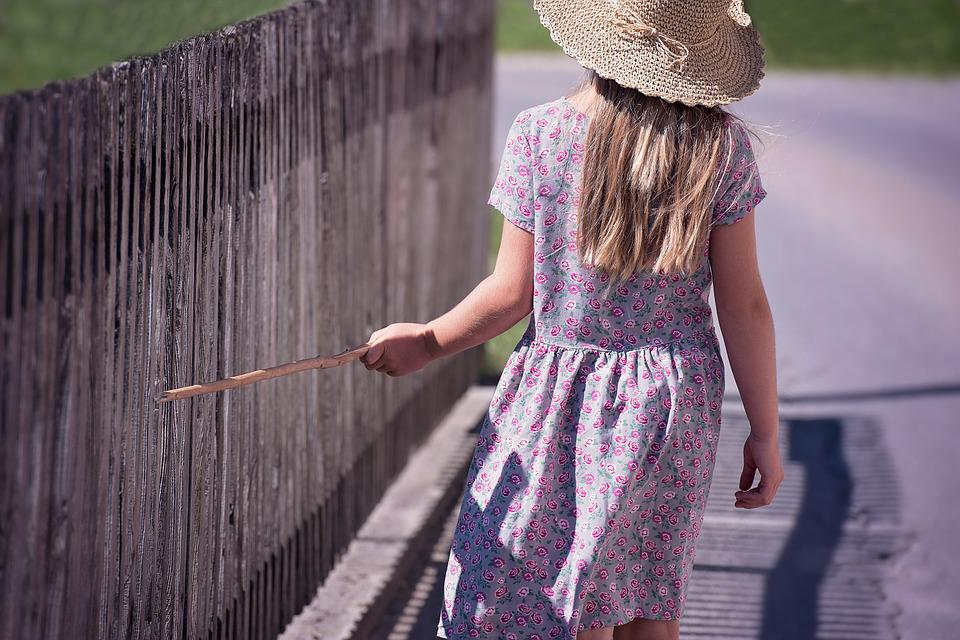Person, Human, Child, Girl, Summer, Dress, Hat, Fence