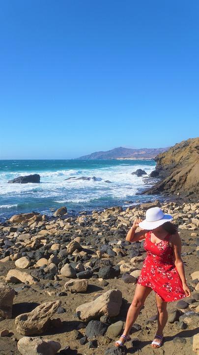 Woman, Coast, Summer Dress, Hat, Rock, Sea, Ocean