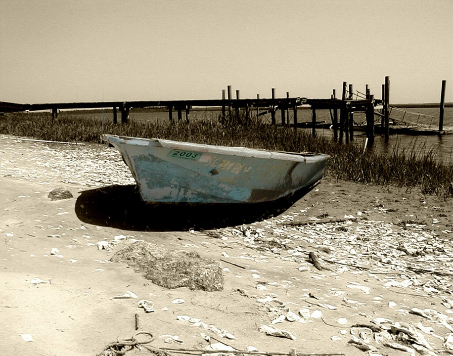 Boat, Water, River, Black And White, Summer, Dry, Black