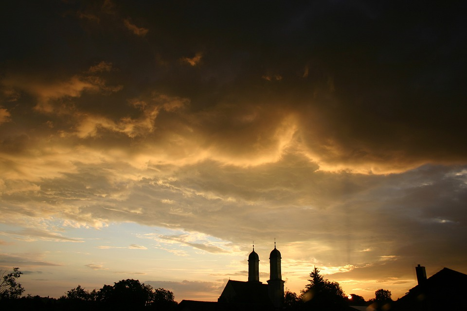 Summer, Thunderstorm, Clouds, Dusk, Sky, Silhouette