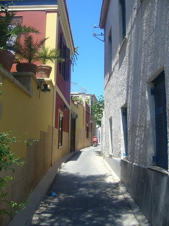 Greece, Summer, Street, Engine, Building, House