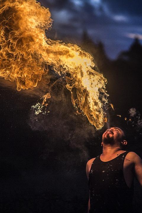 Man, Flames, Performer, Fire, Circus, Festival, Summer