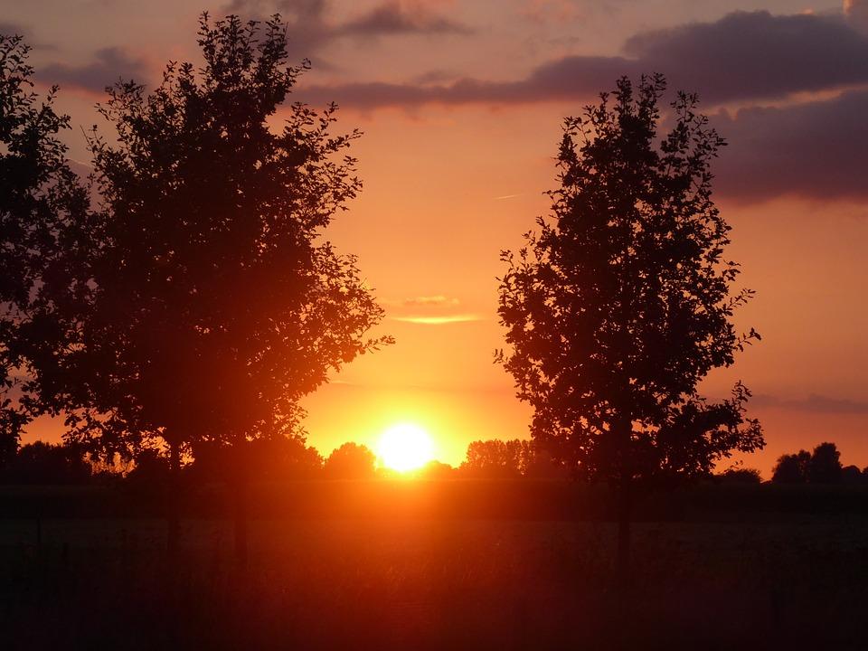 Summer, Sunset, Above, Landscape, Gelderland, Air