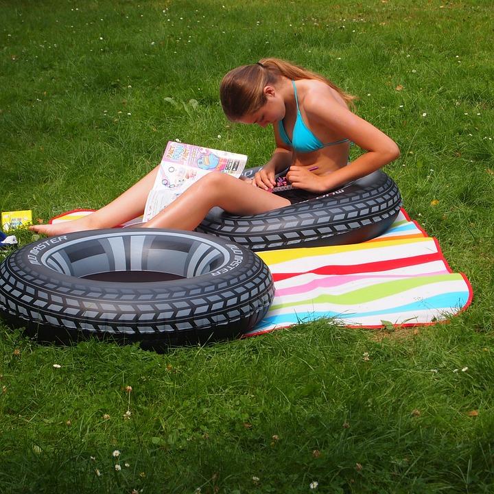 Summer, Swimming Band, Bikini, Read, Food, Girl