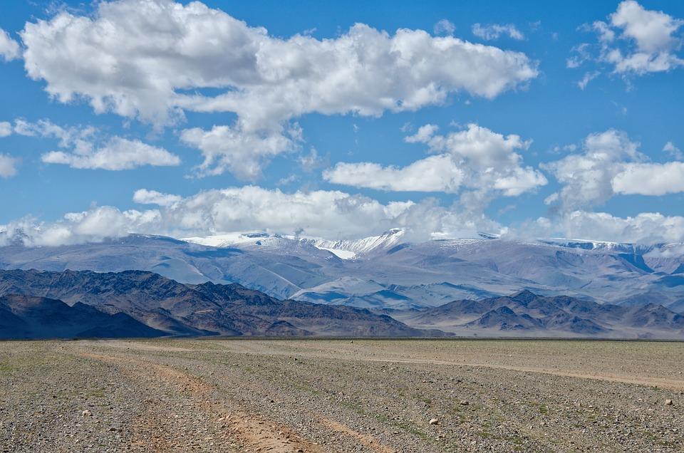 Mongolia, Desert, Gobi, Clouds, Sky, Summer, Steppe