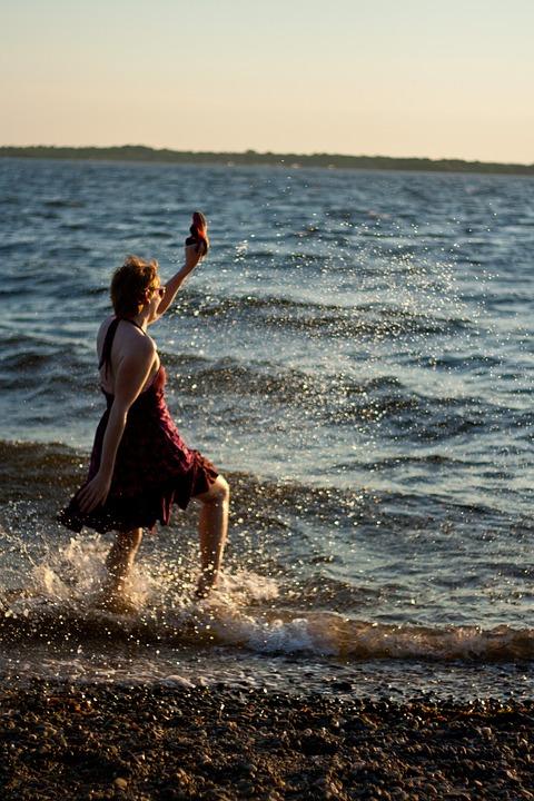 Girl, Beach, Summer, Happiness, Sunset, Outdoor, Splash