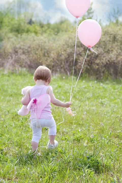 Little Girl With Balloons, Summer, Happiness, Outdoors