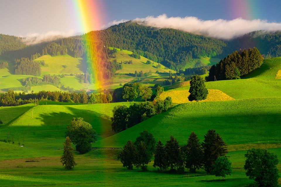 Rainbow, Hills, Rain, Sun, Light, Sunset, Summer