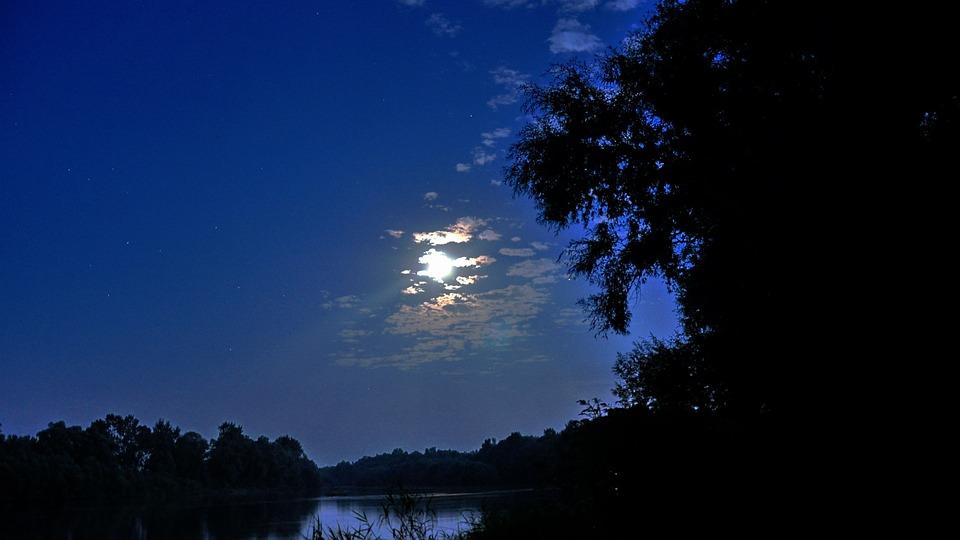 River, Moonlight, Summer