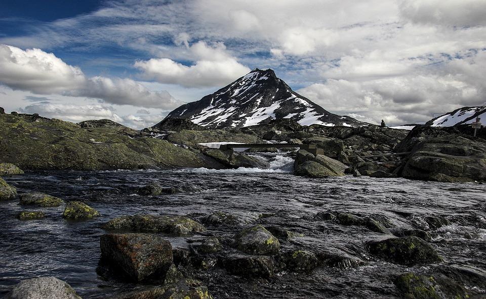 Landscape, Mountain, River, Summer, Sky, Jotunheimen
