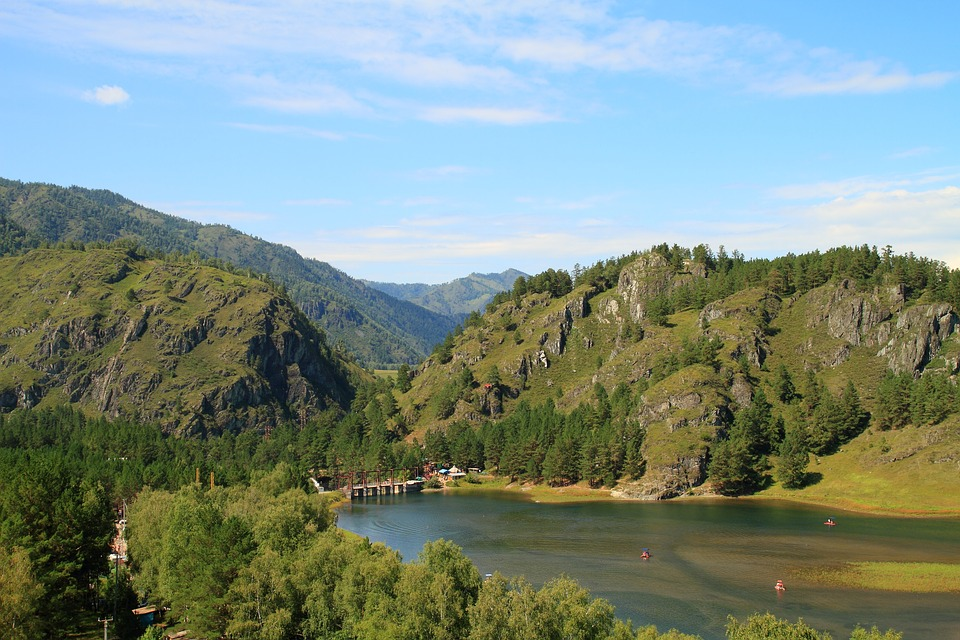 Altai, Lake, Mountains, Nature, Trees, Russia, Summer